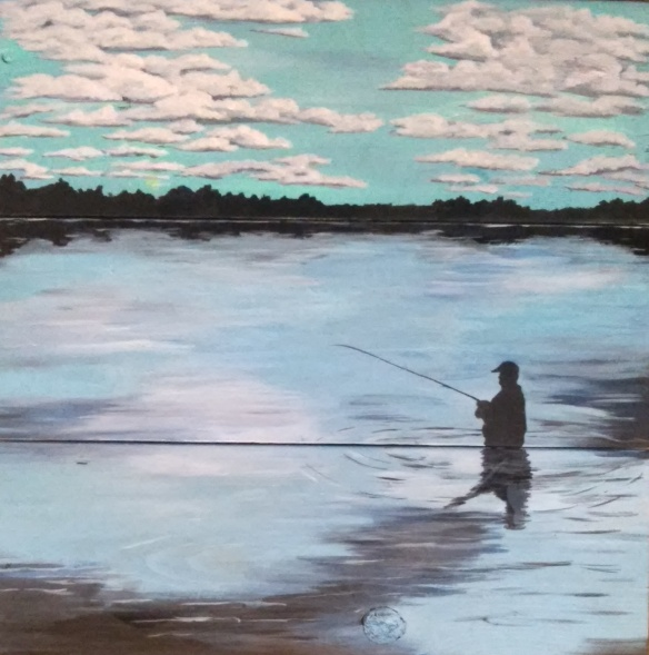 Fishing Day Acrylic on Wood